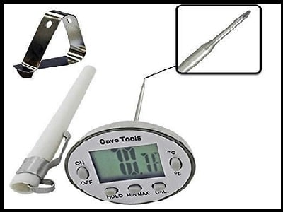 Instant read digital thermometer BBQ grilling by Cave tools